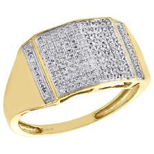Round Cut Diamond Pinky Ring Square Men's 10K Yellow Gold .26 Ct.