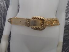 Women's Vintage 1970's Gold Leather & Metal Glam Rock Belt, Size L, Pre-Owned