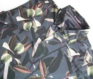 Ted Baker Mens M/3 Premium Floral Print Polo Shirt Short Sleeve Charcoal $119NWT