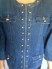 Denim Jeans  Jacket Silver Studs  Designer Fashion S Zipper Down Chic Westbound