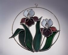 Stain Glass Purple and White Irises on a Wire Ring