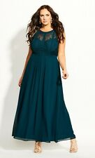 City Chic size S 16 Emerald green panelled Bodice maxi DRESS Lined New