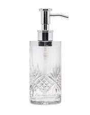 Crystal Bath Room Vanity Lotion Dispenser Pump Clear Glass Soap Bottle Silver
