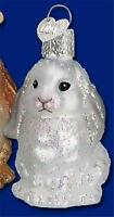WHITE BABY BUNNY RABBIT OLD WORLD CHRISTMAS GLASS EASTER ORNAMENT NWT 12365