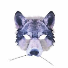 WOLF HALF FACE MASK REALISTIC FUR BOOK WEEK ANIMAL childs adults fancy dress