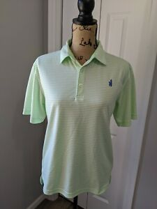 Women's Johnnie-O Prep Performance Golf Shirt Size 14 Large Lime Green White