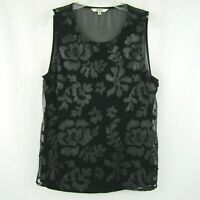 BB Dakota Black Top Lined Faux Leather Floral Front Sheer Back Sleeveless Size M