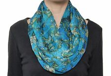 Free Shipping to US Classical Van Gogh Almond BlossomChiffon Infinity Scarf Blue