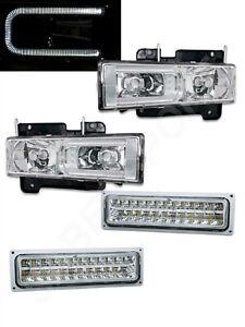 Chrome Headlights w/ LED C-Bar and Signal Lights for 1988-1999 GM C/K Full Size