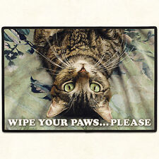 DOORMAT--18 X 27--Tabby Cat WIPE YOUR PAWS, non-skid rubber backed,