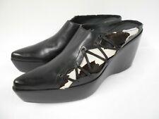 "Gazith shoes cowhide & black leather 4"" wedge heel including 2"" platform 39 UK6"