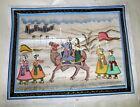 "Vintage 1950's India Hand Painted Silk 13"" Mughal Rajah & Rani Riding Camel"