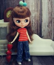 Red Stripe Tank Vest Denim Jeans Pants Trousers For Blythe Doll Outfits Clothes