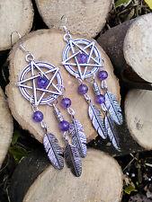 Dream Catcher Dragons Vein Purple Agate Feather Pentagram Dangle Earrings