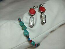 Vintage 950 Silver Big Pearl Red Coral Earrings & Sterling Turquoise Bracelet