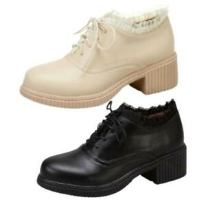 Ladies Ankle Strap College Casual Comfort Party Shoes Fashion Round Toe Mid Heel