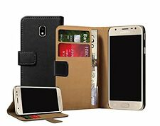 Wallet BLACK Leather Flip Case Cover Samsung Galaxy J3 Duos 2017 + 2 Protectors