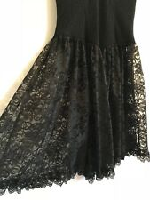Black Corset Style 80s Lace Dress Size 8-10