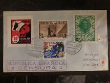 1937 Barcelona Spain Civil War Airmail Censored Cover To New York USA