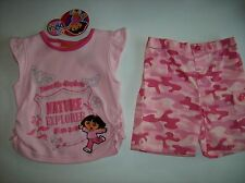 Dora the Explorer Girls Outfit 2pc Short Set Size 2Toddler Camo Butterfly NWT