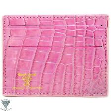 Pink Real Alligator Crocodile Handmade ID Card Holders Wallet For Men And Women