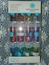 Martha Stewart ~ Vintage Leaf Glitter ~ NIP ~ Set of 12 ~ Jewel Colors