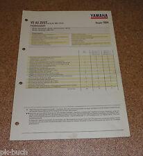 Inspektionsblatt Yamaha YE 80 Zest Typ 4MU Baujahr 1994