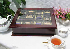 Elegant Tea Bag Chest Cabinet with glass door cover, solid wood, TEA1-Maho