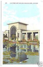 Postcard Douglas Park Lily Pond & Pavilion Chicago Ill.