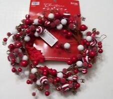 6 IN RED & WHITE CANDIES BERRIES CANDLE RING CHRISTMAS HOLIDAY DECORATION