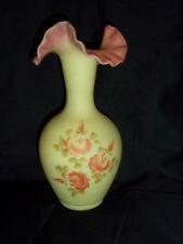 """Beautiful Fenton Roses Ruffle Top Vase 10"""" Tall"""