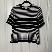Anthropologie Postmark Size Large Black White Stripe Short Sleeve Sweater Cotton
