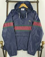 VTG 1980s IZOD LACOSTE Large Mens Blue Nylon Hooded 1/2 Zip Windbreaker Jacket