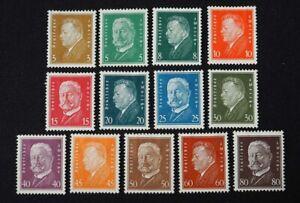 1928 Deutsches Reich; Serie Reichspräsident I  */MH, MiNr. 410/22, ME 120,-