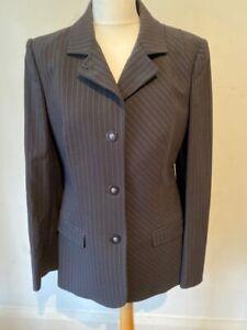 Versace Vintage Black Grey White Pinstripe Fitted Stretch Jacket Blazer 12 44