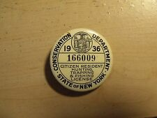 Vintage 1936 New York State Resident Hunting, Trapping, Fishing License Pin