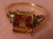 10 Karat Solid Gold Pink Mystic Topaz Ring Square Cut Gemstone 2.9 Carats