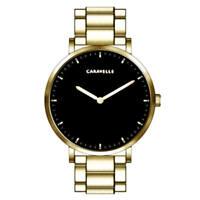 Caravelle Men's Watch Dress Quartz Black Dial Yellow Gold Bracelet 44A112