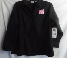 RIDERS BY LEE BLACK WASH & WEAR TOP BLOUSE 3/4 SLEEVE BUTTON FRONT POLY/SPAN 2X