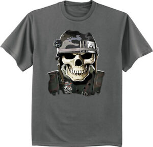 Sale! - Mens 2XLT - Big and Tall Graphic Tee Military Skull T-shirt