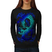 Wellcoda Fantasy Dragon Mystical Womens Long Sleeve T-shirt, Myth Casual Design