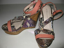 "BCBG Purple LUSTRE SNAKESKIN Coral CORK 5"" WEDGES Platform Strappy SANDALS SHOES"