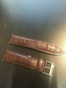 NEW Frederique Constant 20mm Croco Leather Brown Watch Strap Band Silver Buckle