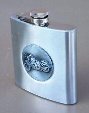 Flasque à alcool déco MOTO bouteille flacon motard whisky inox