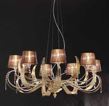 Lampadario classico di design in foglia oro con paralumi BELL erica 3021/L8L