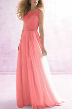 Long Lace Chiffon Bridesmaid Dress Wedding Evening Formal Party Ball Prom Gown