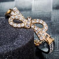 Fashion Women Gold Plated Classic Bracelet Black Leather Jewelry Cuff Bangle