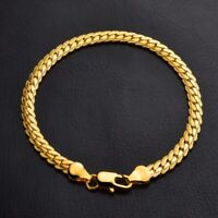 18K Yellow Gold Plating Women Men Bracelet Curb Chain Fashion Bangle Jewelry New