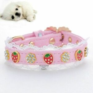 Cute Dog Collar Pink Flowers Strawberry Puppy Necklace Princess Style Jewelry