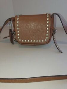 COACH DAKOTA LEATHER CROSSBODY STUDDED BAG MESSENGER SHOULDER SADDLE TAN BROWN